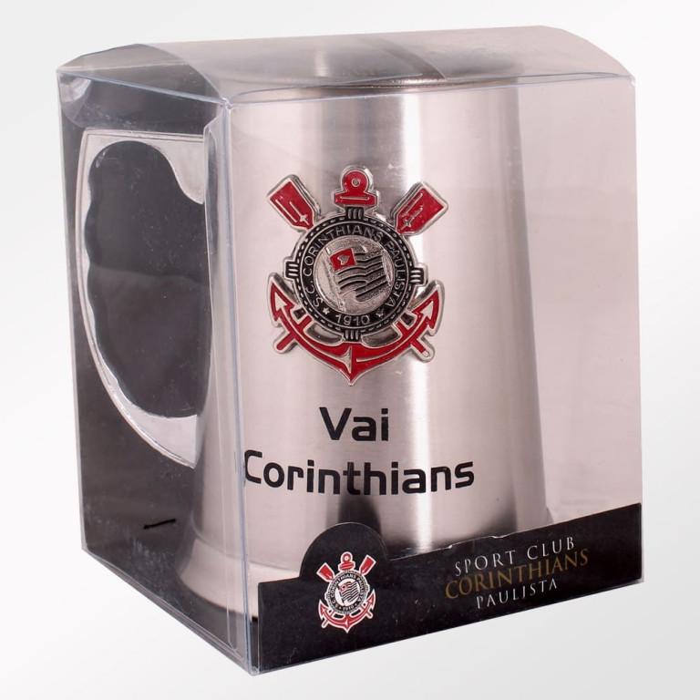 Caneca do Corinthians de Inox com Escudo Alto Relevo 450 ml