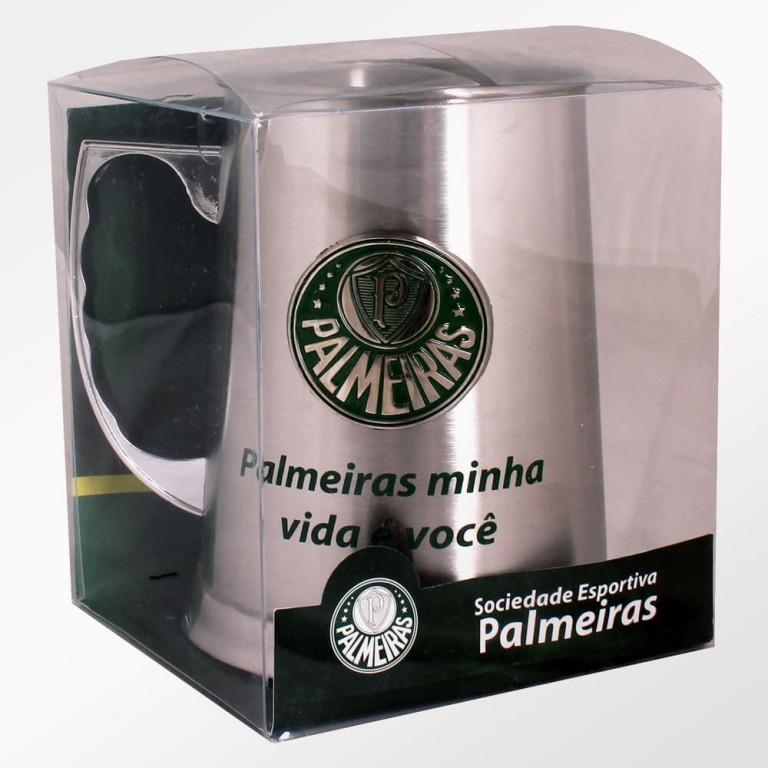 Caneca do Palmeiras de Inox com Escudo Alto Relevo 450 ml