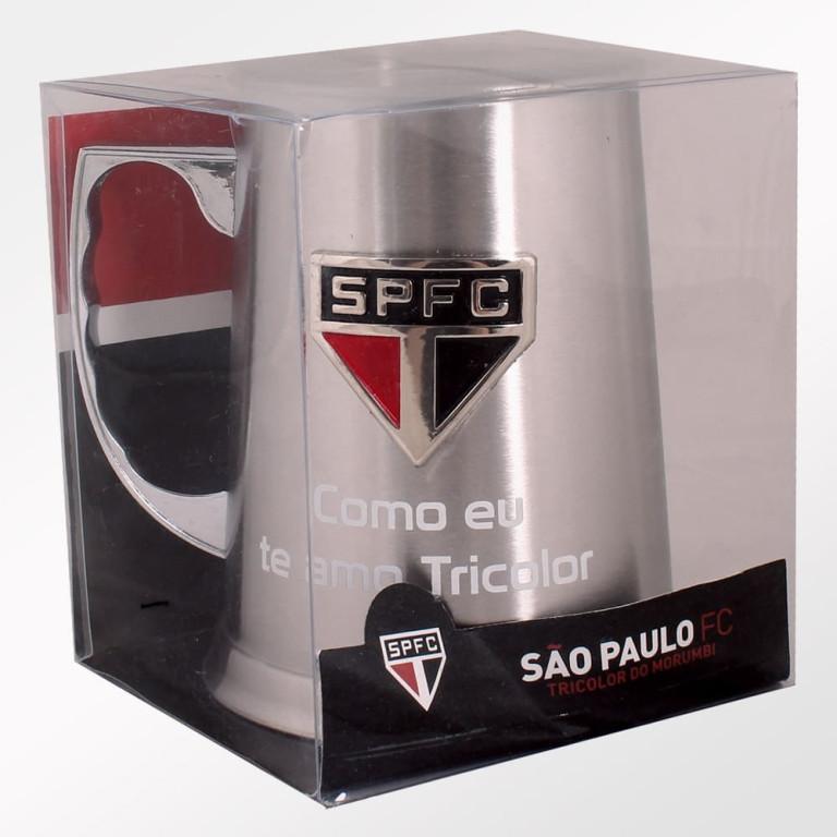 Caneca do São Paulo de Inox com Escudo Alto Relevo 450 ml