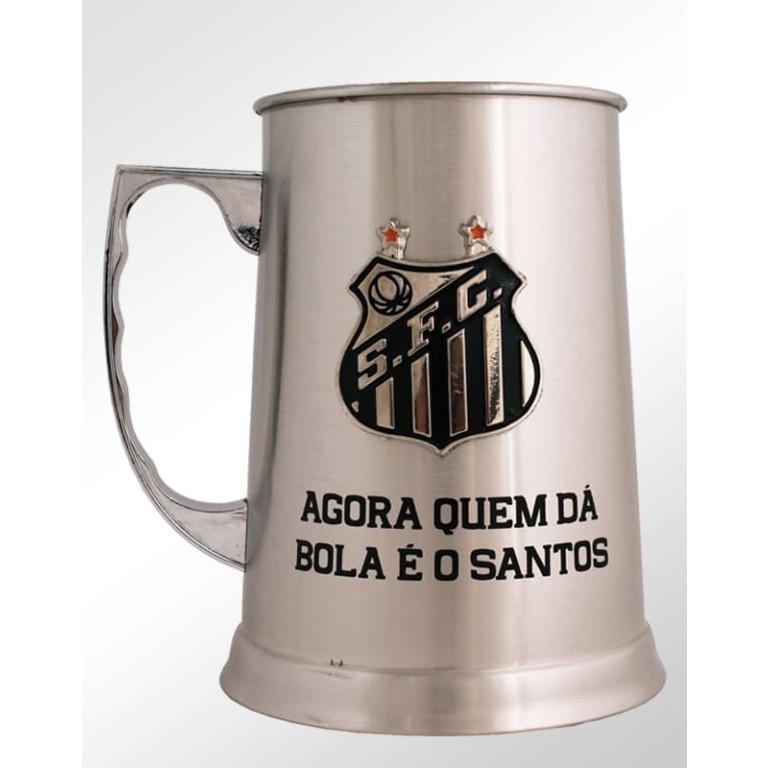 Caneca de Inox Do Santos com Escudo Alto Relevo