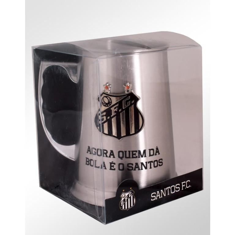 Caneca de Inox do Santos com Escudo Alto Relevo 400 ml