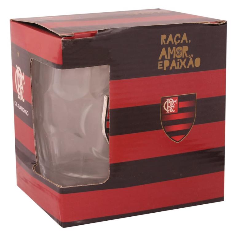 Caneca do Flamengo de Vidro com Brasão de Inox 400 ml
