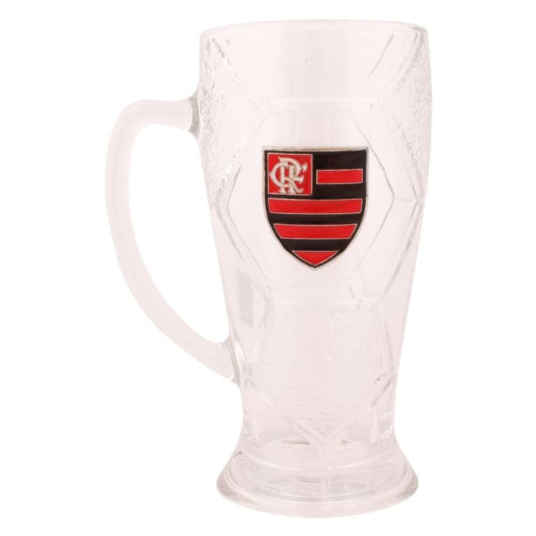 Caneca de Vidro com Brasão de Metal do Flamengo 630 ml