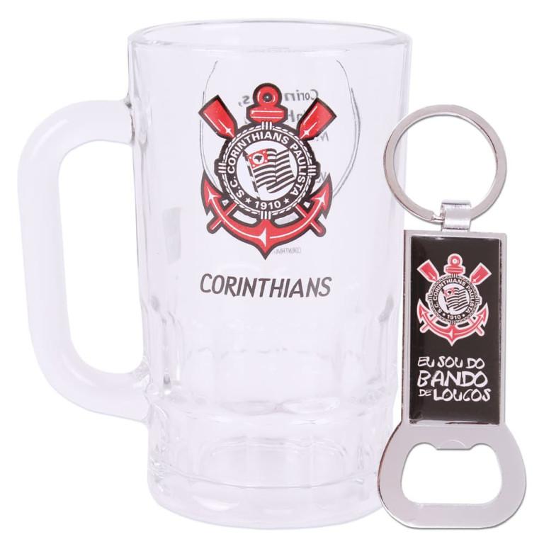 Caneca do Corinthians de Vidro com Chaveiro Abridor de Garrafa 330 ml