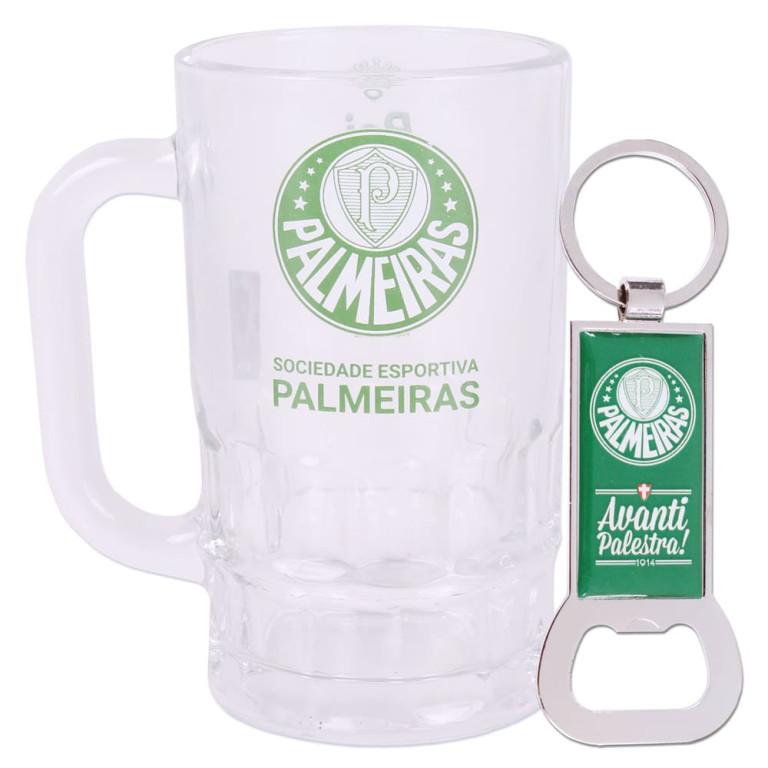 Caneca do Palmeiras de Vidro com Chaveiro Abridor de Garrafa 330 ml