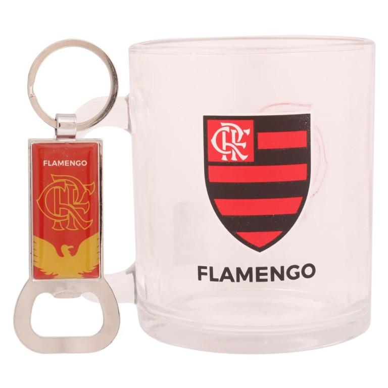Caneca de Vidro com Chaveiro Abridor de Garrafa do Flamengo 370 ml