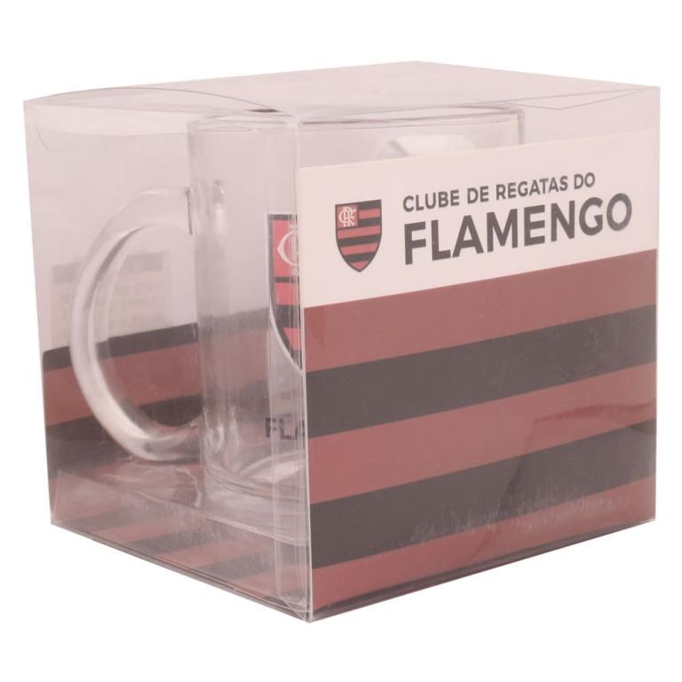 Caneca do Flamengo de Vidro com Chaveiro Abridor de Garrafa 370 ml