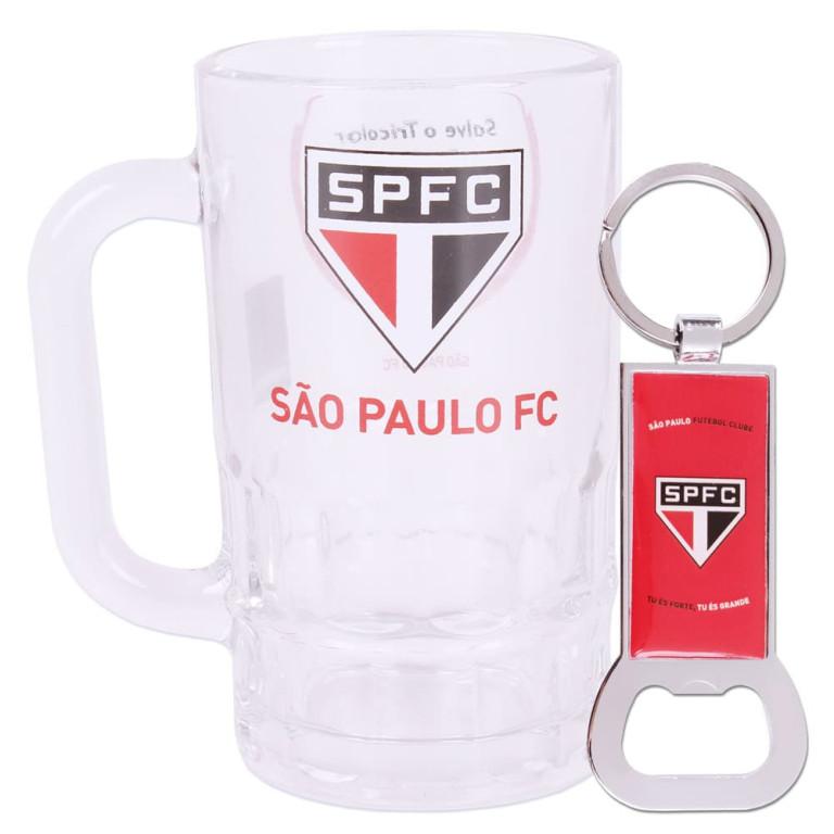 Caneca do São Paulo de Vidro com Chaveiro Abridor de Garrafa 330 ml