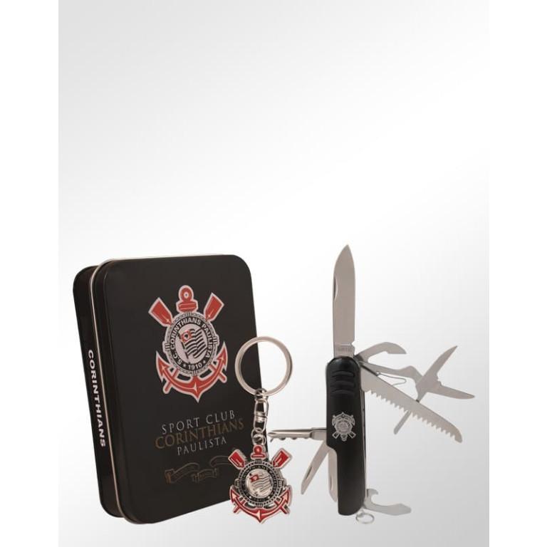 Conjunto Canivete + Chaveiro na Lata Corinthians