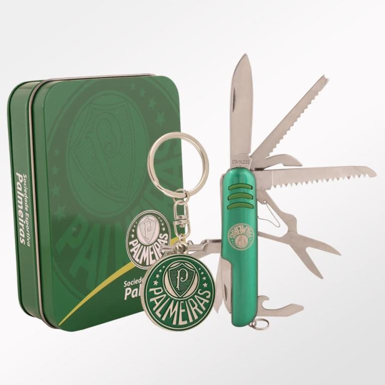 Conjunto Canivete + Chaveiro na Lata Palmeiras