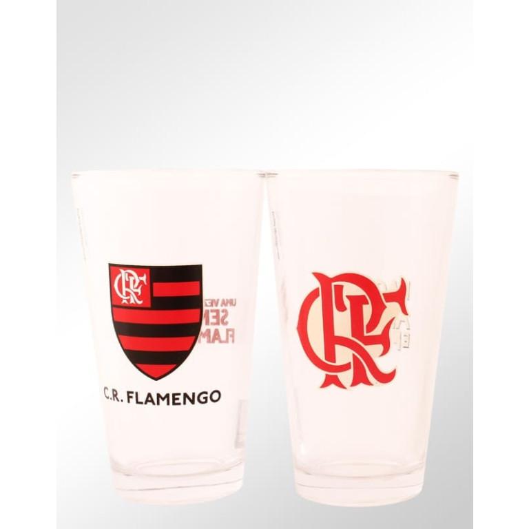 Conjunto com 2 Copos de Vidro do Flamengo 475 ml