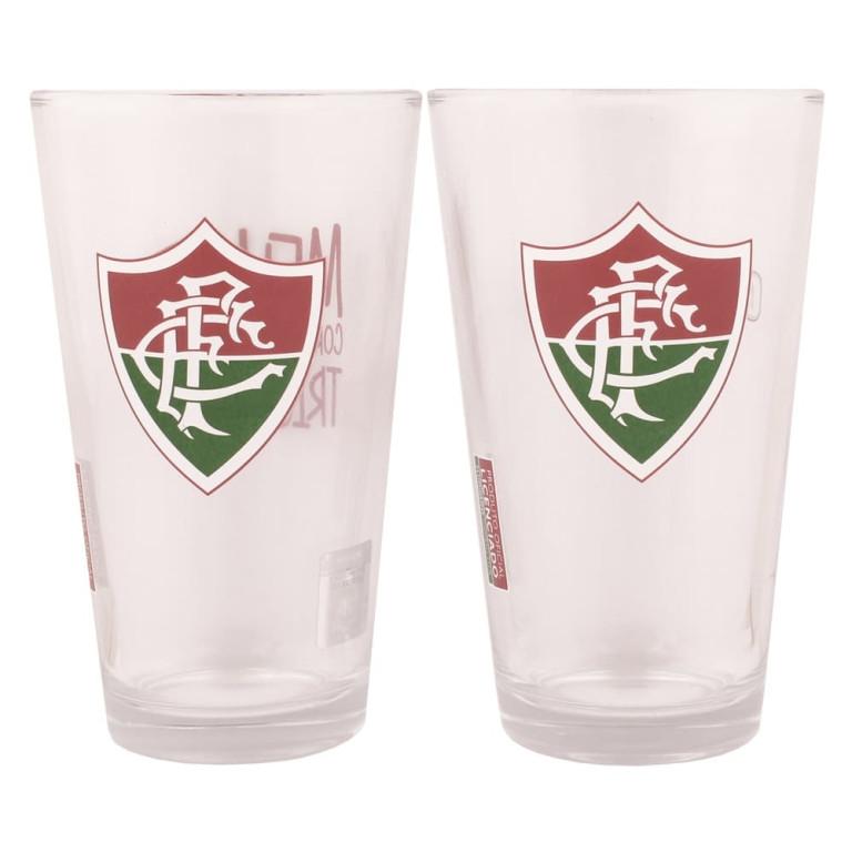 Conjunto com 2 Copos de Vidro do Fluminense 475 ml