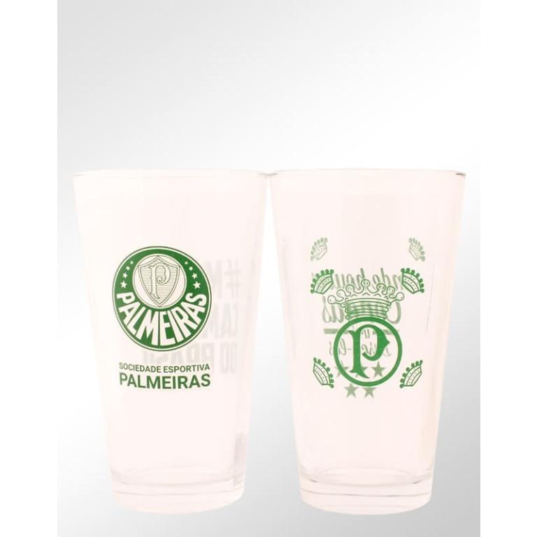 Conjunto com 2 Copos de Vidro do Palmeiras 475 ml