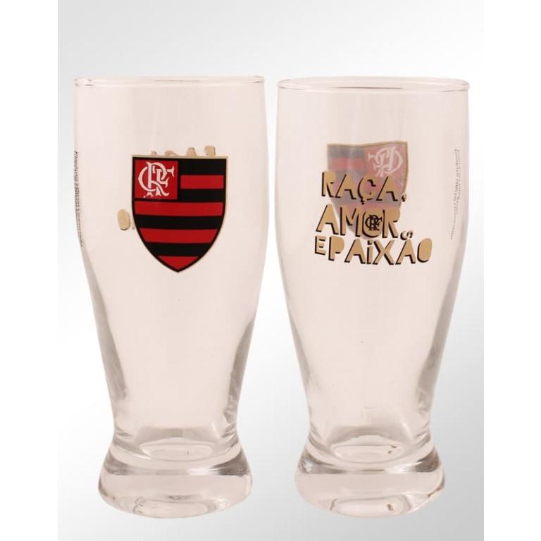 Conjunto Com 2 Copos Lager de Vidro do Flamengo
