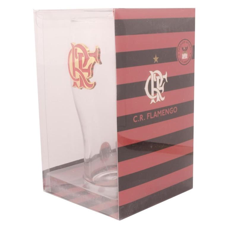 Copo do Flamengo de Vidro com Brasão de Inox 600 ml