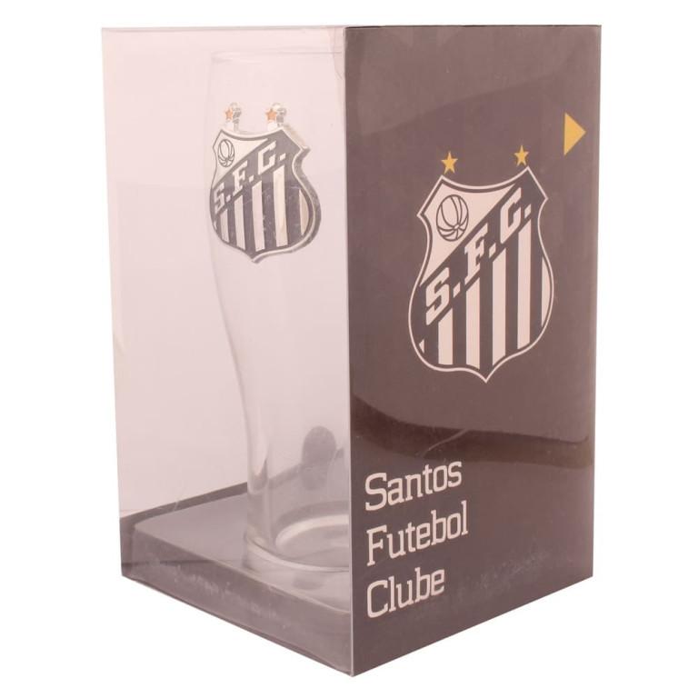 Copo do Santos de Vidro com Brasão de Inox 600 ml