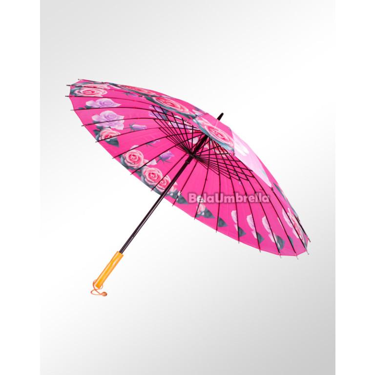 Guarda Chuva Sombrinha Reforçada 24 Varetas Boa Qualidade Rosas 3