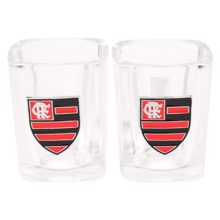 Jogo com 2 Copos do Flamengo de Vidro para Shot 60 ml